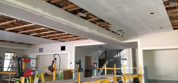Bead board ceilings for the kitchen and family room